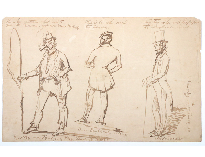 "Unsigned ink caricatures of three men from ""Botany Bay"", ""New England"" and ""Sydney"""