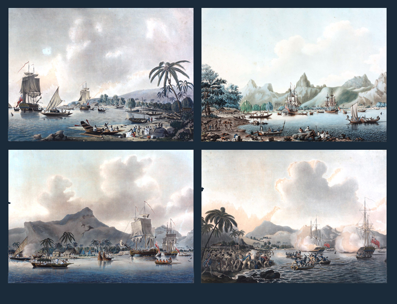 The series of four separately issued coloured aquatint views of the Pacific: View of Owhyhee, one...