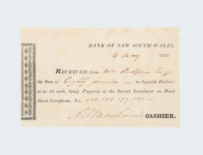 Bank of New South Wales Receipt Dated 4 May 1826. Eighty pounds in Spanish Dollars at 4s 4d each