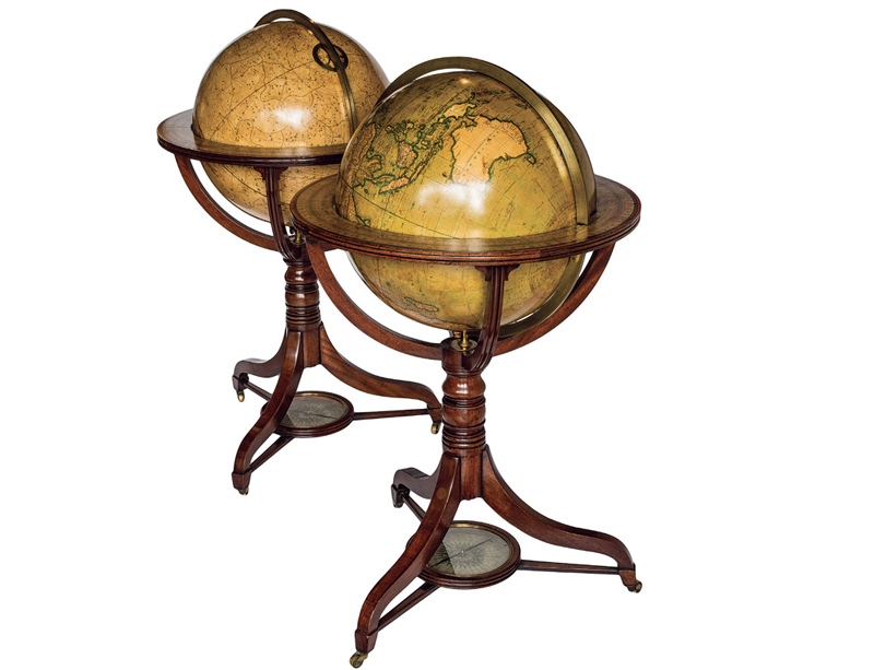 Navigating Cook catalogue: Handsome matched pair of Regency floor globes