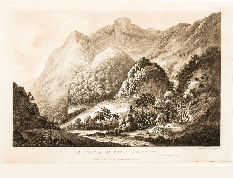 Captain James Cook 250 years on catalogue: First aquatint view of John Webber's Tahitian view