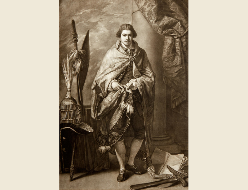 Mezzotint proof engraving of Joseph Banks wearing a Maori flax cloak