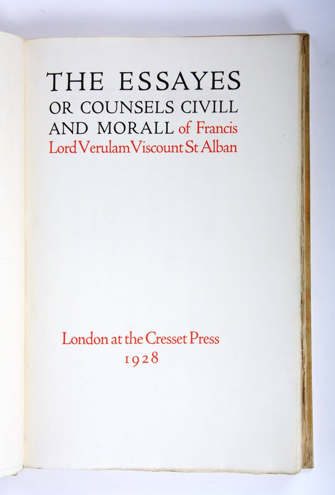 essayes or counsels The essayes or counsels civill & morall of francis bacon, baron of verulam, viscount saint alban  open library is an initiative of the internet archive,.