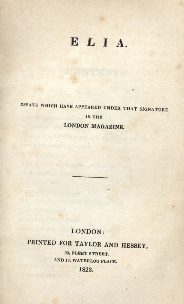 charles lamb style his essays Charles lamb 1775-1834 (also wrote under the pseudonym elia) english essayist, critic, poet, dramatist, and novelist the following entry presents criticism on lamb from 1984 through 1998.