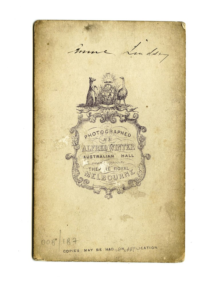 Carte De Visite Of Anne Lindsay From Winters Studio At Australian Hall