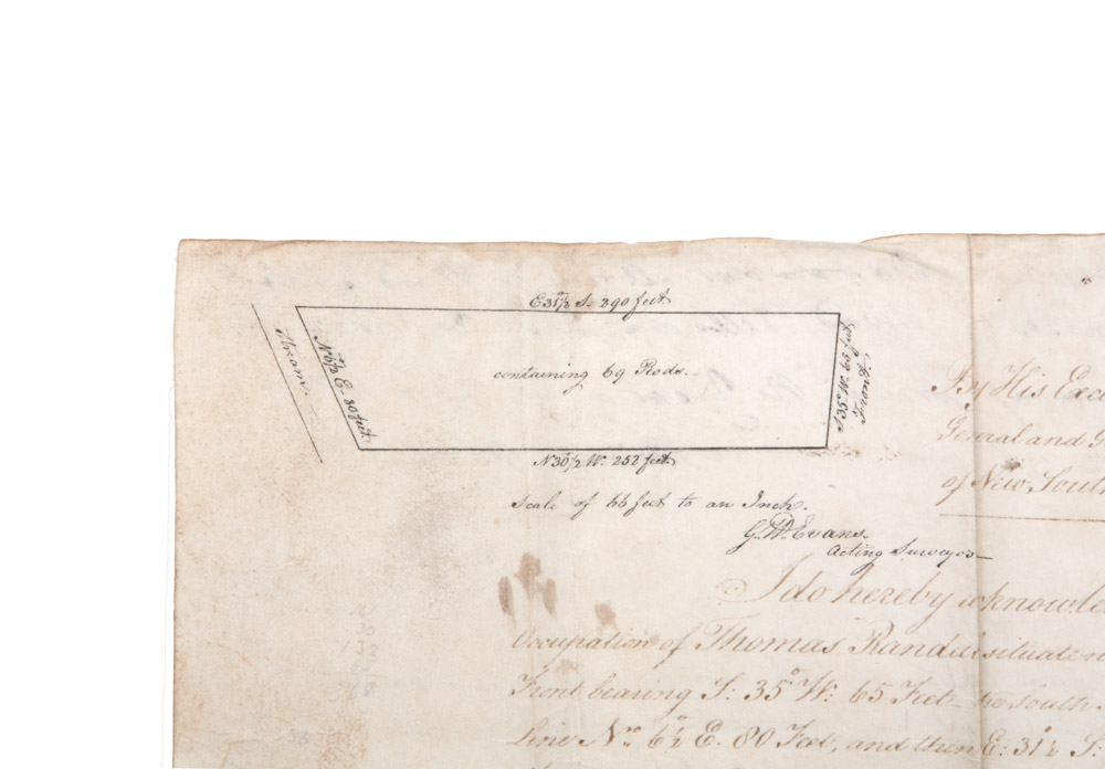Land grant on vellum signed by Governor King, and with a small site ...