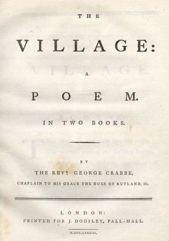The Village a Poem in Two Books. George CRABBE.