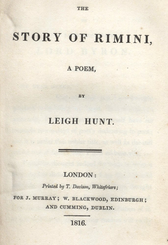 The story of Rimini a poem. Leigh HUNT.