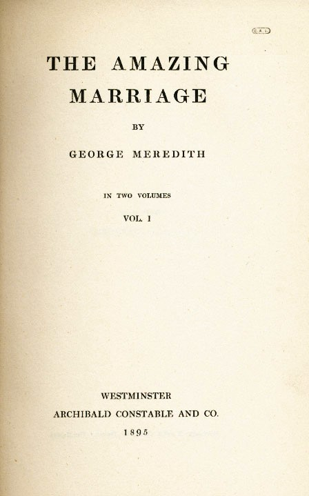 The Amazing Marriage. George MEREDITH.