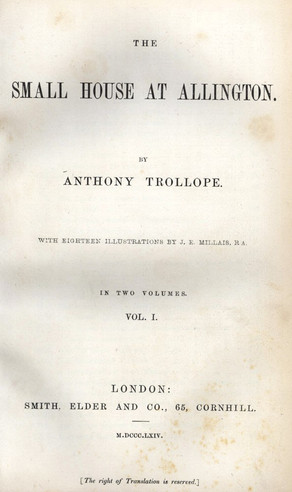 The Small House at Allington. Anthony TROLLOPE.