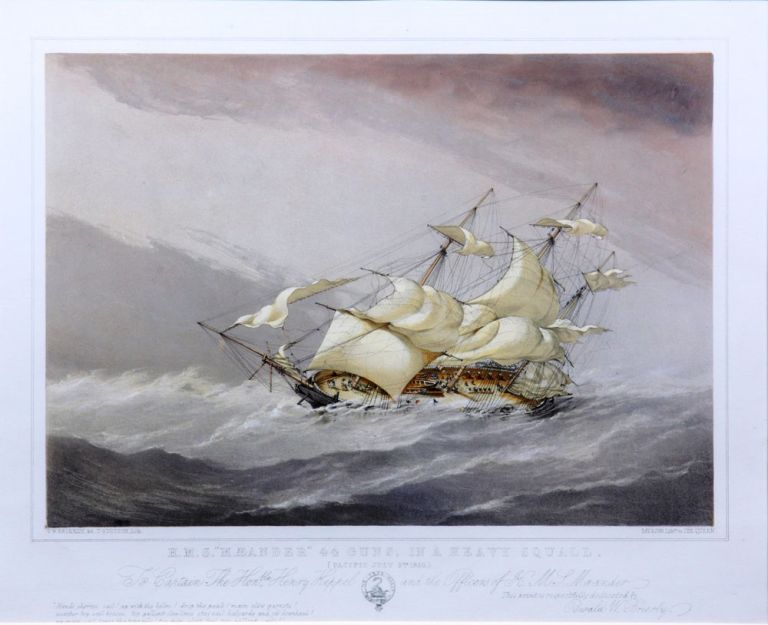 "HMS ""Mæander"" 44 guns, in a heavy squall [and] Shortening sail for anchoring. Sir Oswald Walters BRIERLY, after."