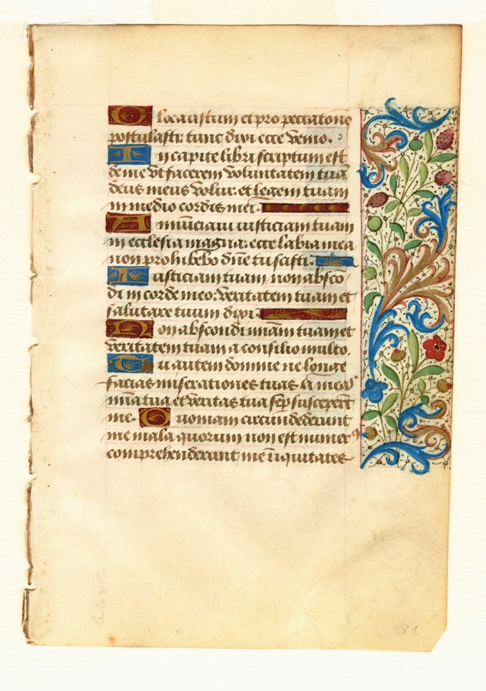 Illuminated leaf from a Book of Hours. ROUEN ILLUMINATOR.
