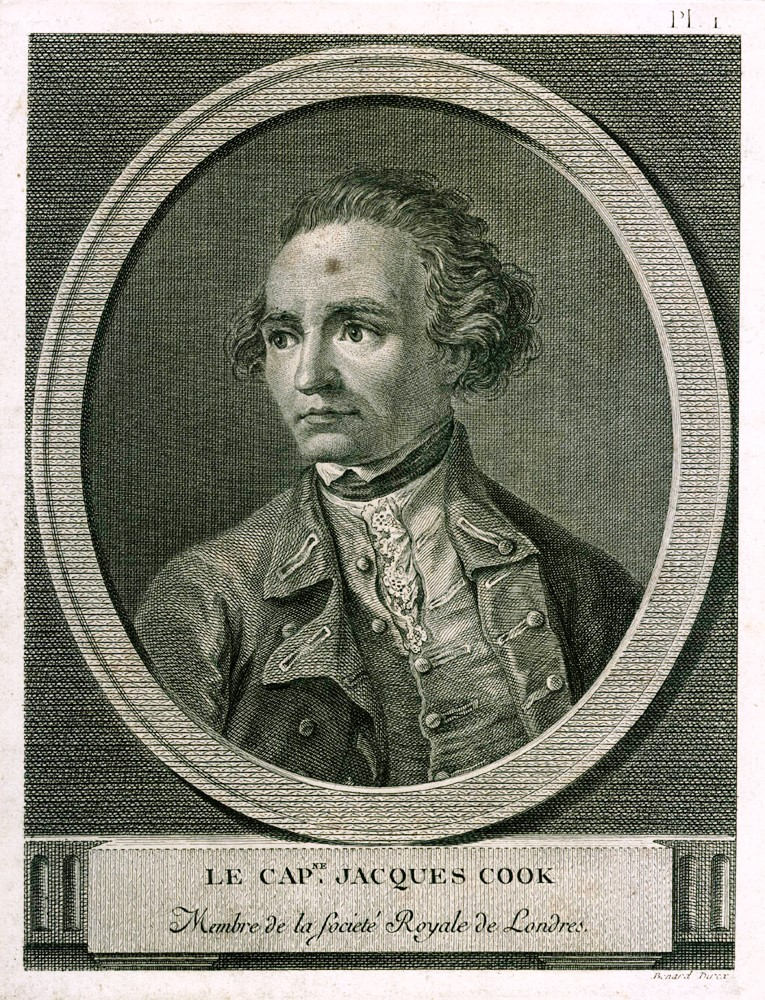Le Capne. Jacques Cook. Membre de la Societe Royale de Londres. BERNARD after William HODGES, engraver.