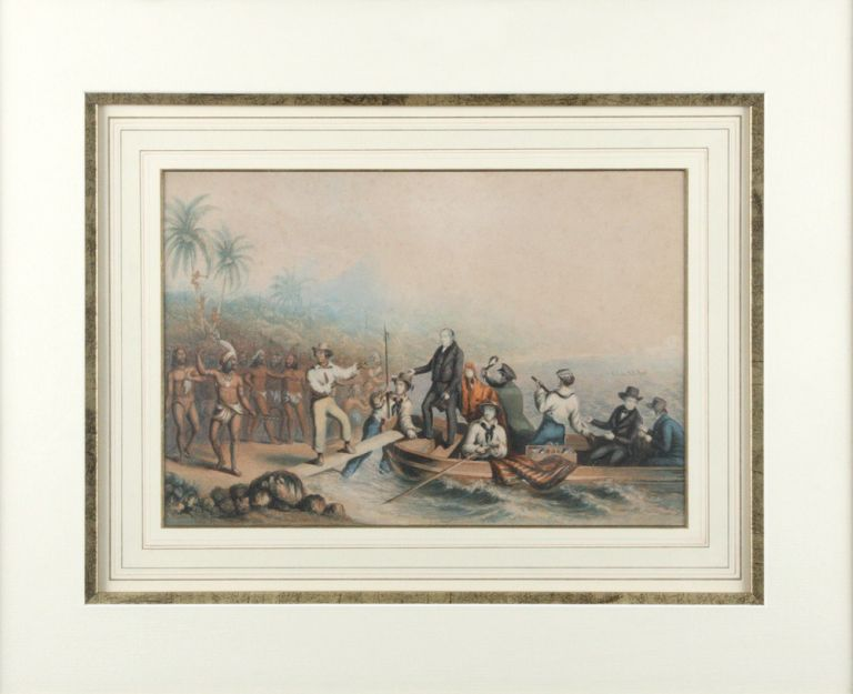 The reception of the Rev J Williams at Tanna, in the South Seas, the day before he was massacred. WILLIAMS, George BAXTER.