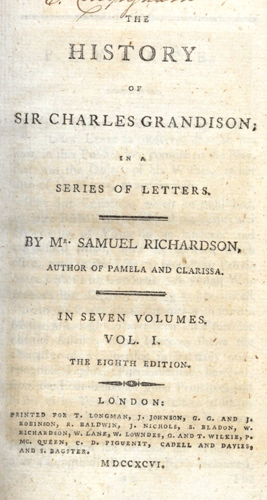 The History of Sir Charles Grandison; in a Series of Letters. Samuel RICHARDSON.