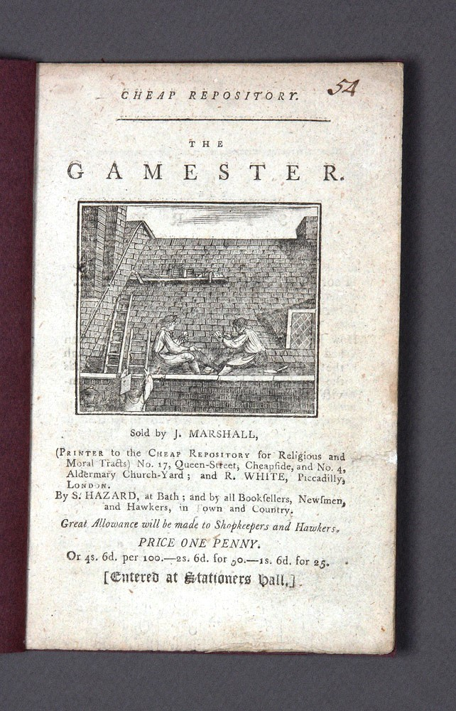 The Gamester… The Story of Poor Tricket the Gamester…. TRANSPORTATION, J. MARSHALL, publisher.