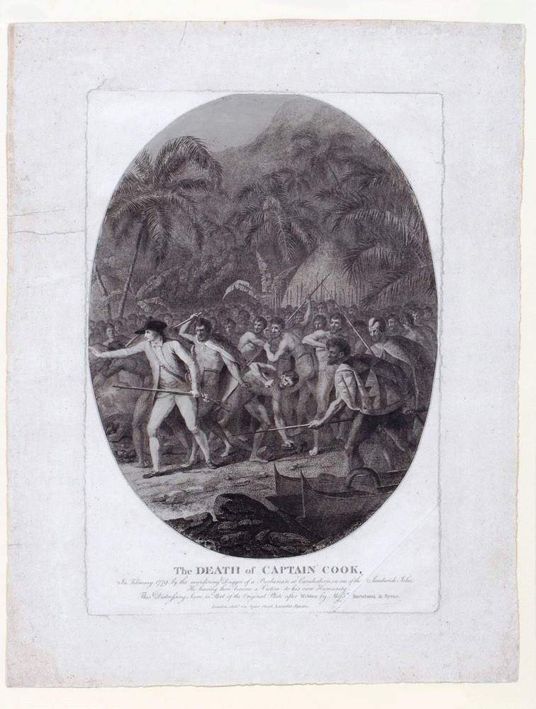 The Death of Captain Cook, In February 1779 by the murdering Dagger of a Barbarian at Carakakooa, in one of the Sandwich Isles. He having there become a Victim to his own Humanity. The Distressing Scene, is Part of the Original Plate after Webber by Messrs Bartolozzi & Byrne. COOK: DEATH, John WEBBER, RNE.