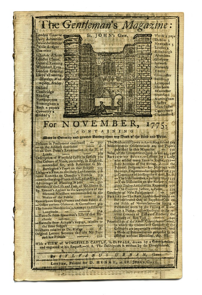 Article on John Hutchinson's longitude clock in 'The Gentleman's Magazine' for November 1775. John HUTCHINSON.
