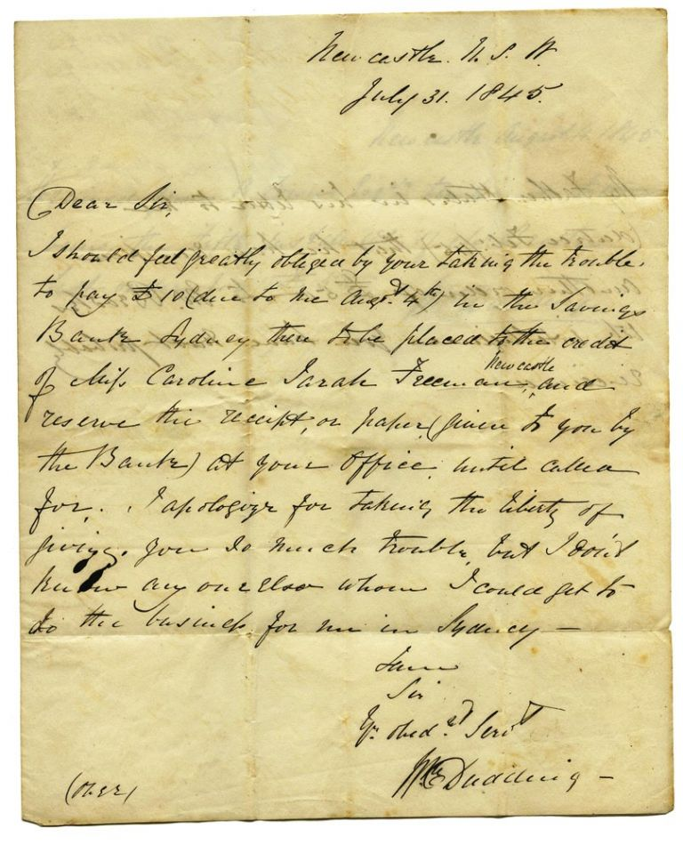 Autograph letter to Robert Towns of Town's Wharf, Sydney. NEWCASTLE, William DUDDING.