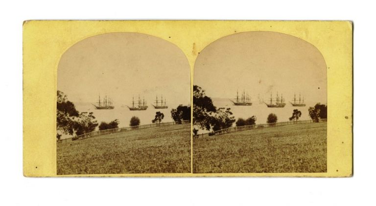 Flying Squadron on the Derwent River. STEREOSCOPE, Samuel CLIFFORD, attributed.