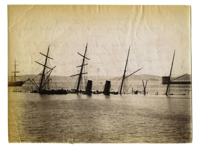 "'The Orient Liner ""Austral"" sunk in Sydney Harbour' [pencil title to verso]. SS AUSTRAL, John PAINE, attributed."