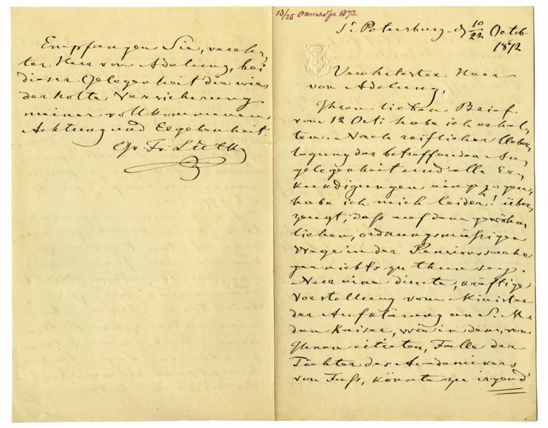 """Autograph letter signed """"Fr. Luetke"""", to Russian Privy councillor Von Adelung. Count Fyodor Petrovich LUTKE."""