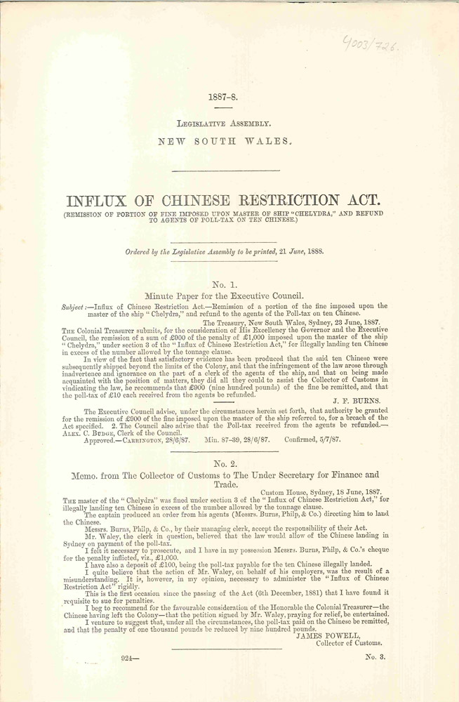 Influx of Chinese Restriction Act. PARLIAMENT OF NEW SOUTH WALES, J. F. BURNS, James, POWELL.