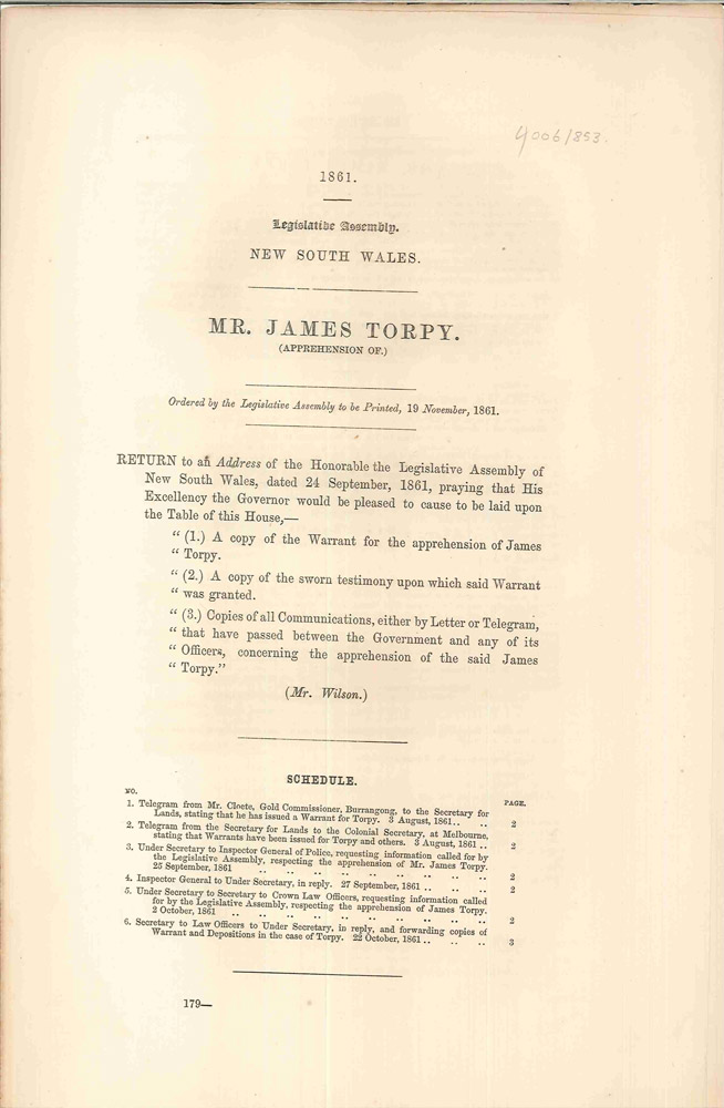 Mr. James Torpy (Apprehension of). PARLIAMENT OF NEW SOUTH WALES, P. L. CLOETE.