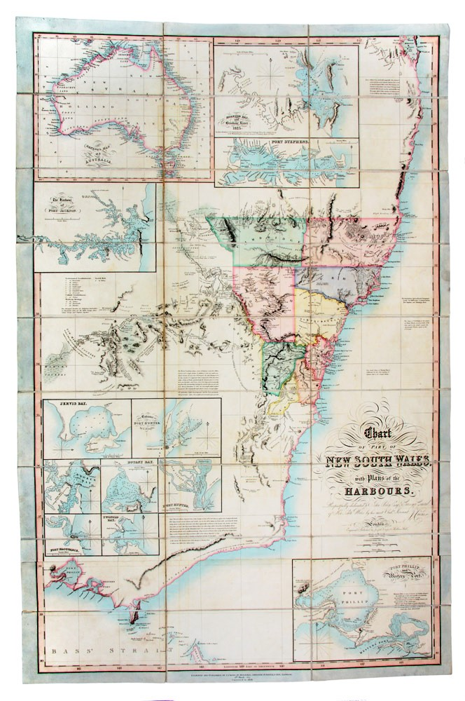 Chart of part of New South Wales with plans of the harbours. Respectfully dedicated to John Oxley, Esq., Surveyor-General. Joseph CROSS.
