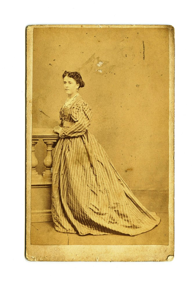 "Carte de Visite of Anne Lindsay, from Winter's studio at ""Australian Hall"", opposite the Theatre Royal Melbourne. LINDSAY, Alfred WINTER, photographer."