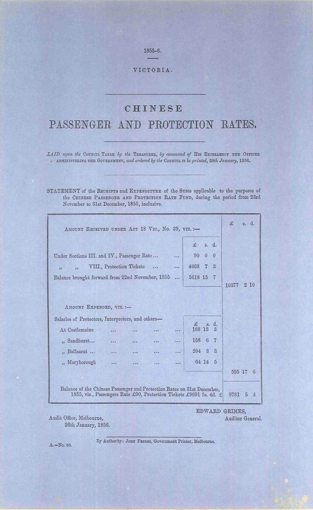 Chinese passenger and protection rates. PARLIAMENT OF VICTORIA, Edward GRIMES.