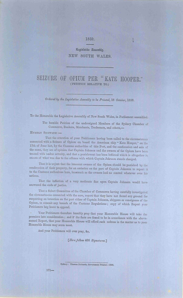 """Seizure of Opium per """"Kate Hooper."""" (Petition Relative to). PARLIAMENT OF NEW SOUTH WALES."""