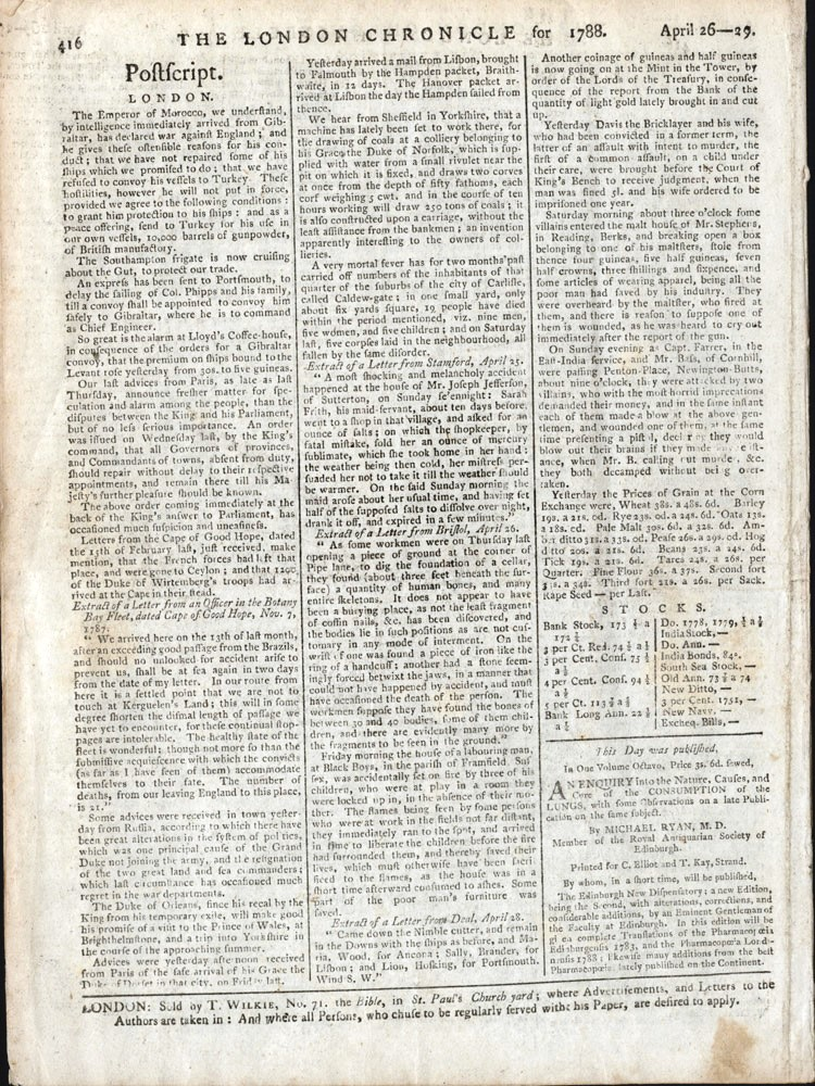 Letter from the Cape of Good Hope in the London Chronicle. FIRST FLEET.