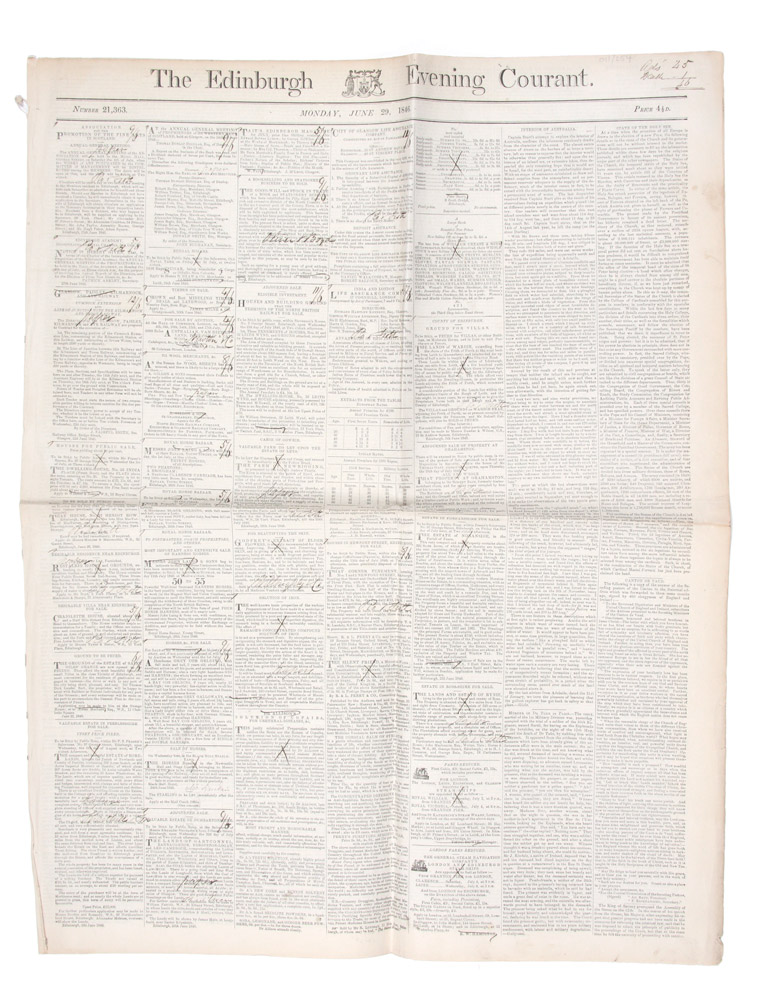 Sturt's third and final expedition as reported in 'The Edinburgh Evening Courant'. Monday, June 29, 1846. CHARLES STURT.
