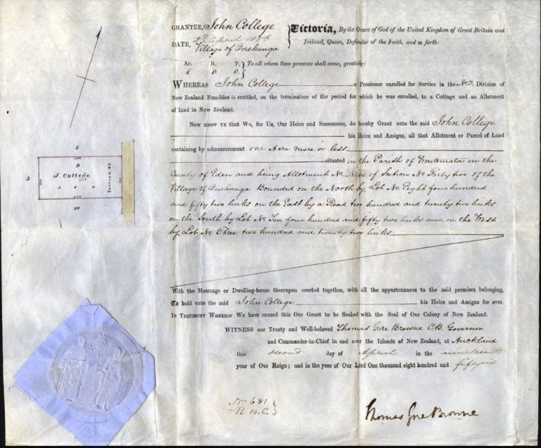 Land Grant to John College, in the village of Onehunga, signed by Governor Browne. AUCKLAND, Governor Thomas Gore BROWNE.