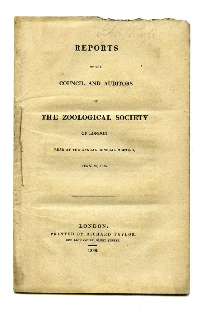 Reports of the Council and Auditors of the Zoological Society of London, read at the Annual General Meeting, April 29, 1835. KANGAROO, ZOOLOGICAL SOCIETY.