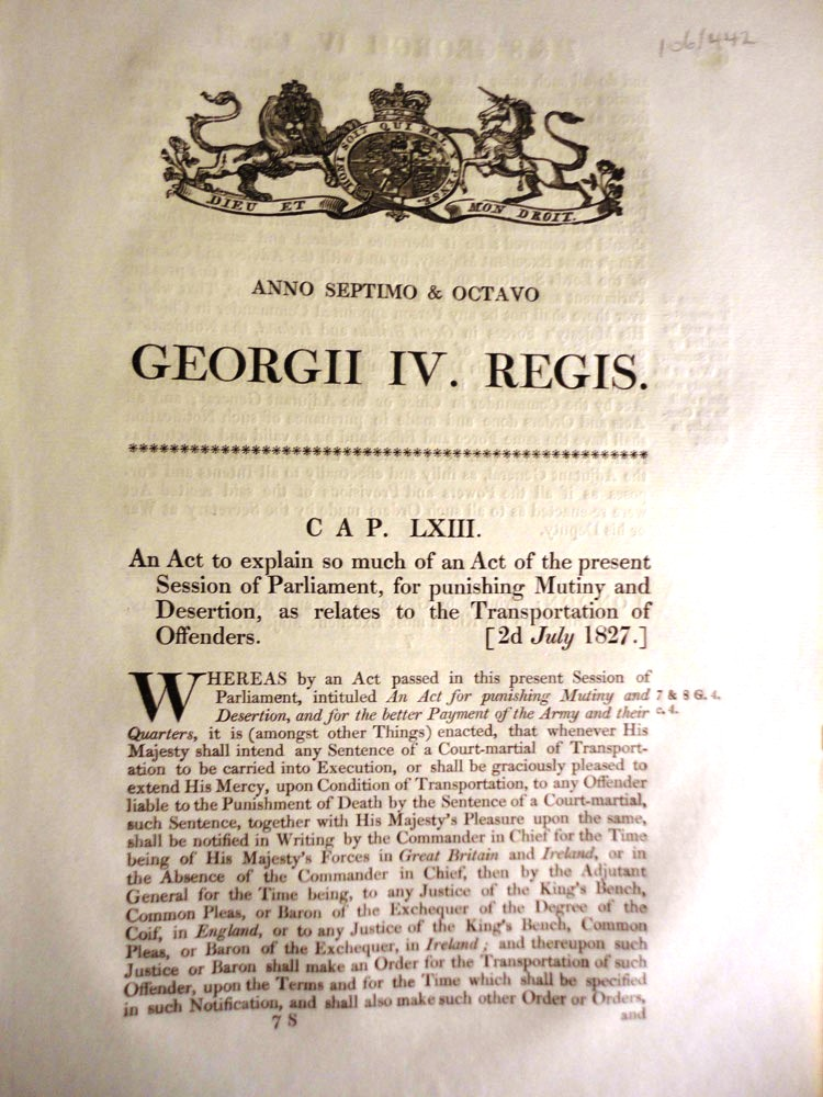 An Act to explain so much of an Act of the present Session of Parliament, for punishing Mutiny and Desertion, as relates to the Transportation of Offenders. (Cap. LXIII). PARLIAMENT OF GREAT BRITAIN.