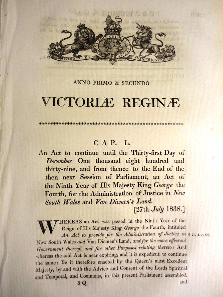 An Act to continue…for the Administration of Justice in New South Wales and Van Diemen's Land. (Cap. L). PARLIAMENT OF GREAT BRITAIN.