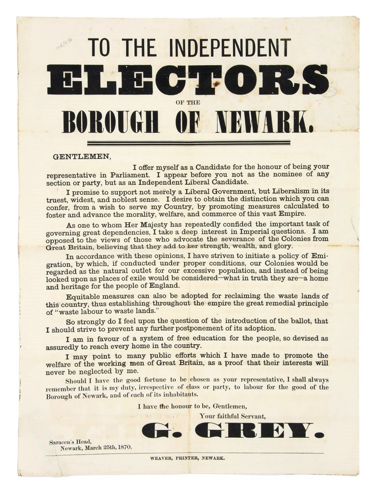 To The Independent Electors of the Borough of Newark. George GREY.