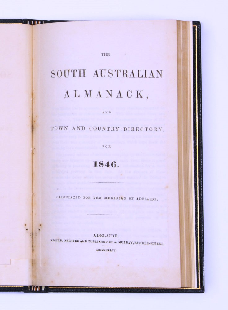 The South Australian Almanack, and Town and Country Directory for 1846. SOUTH AUSTRALIAN ALMANACK.