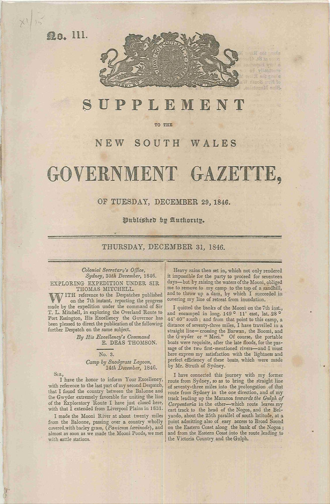 Supplement to the New South Wales Government Gazette of Tuesday, December 29, 1846…. Sir Thomas MITCHELL, Samuel Augustus PERRY.