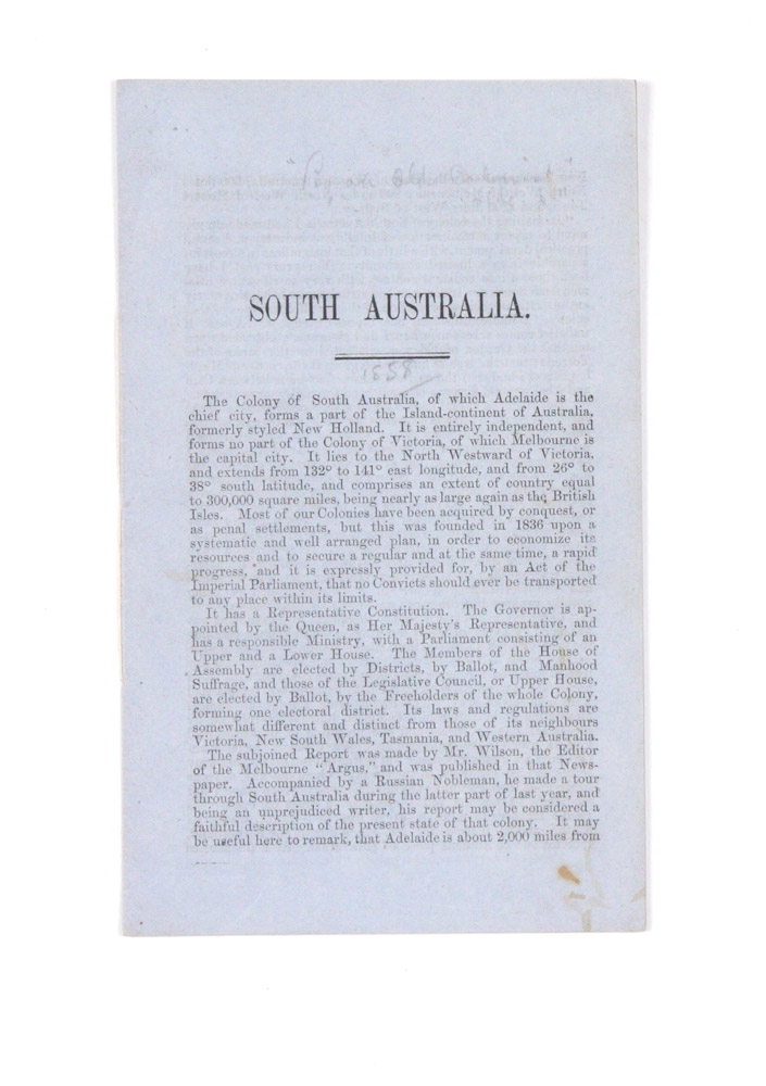 "Promotional booklet; drop-title ""South Australia""… ""By an Old Colonist"" ANONYMOUS, Sir Alfred STEPHEN."