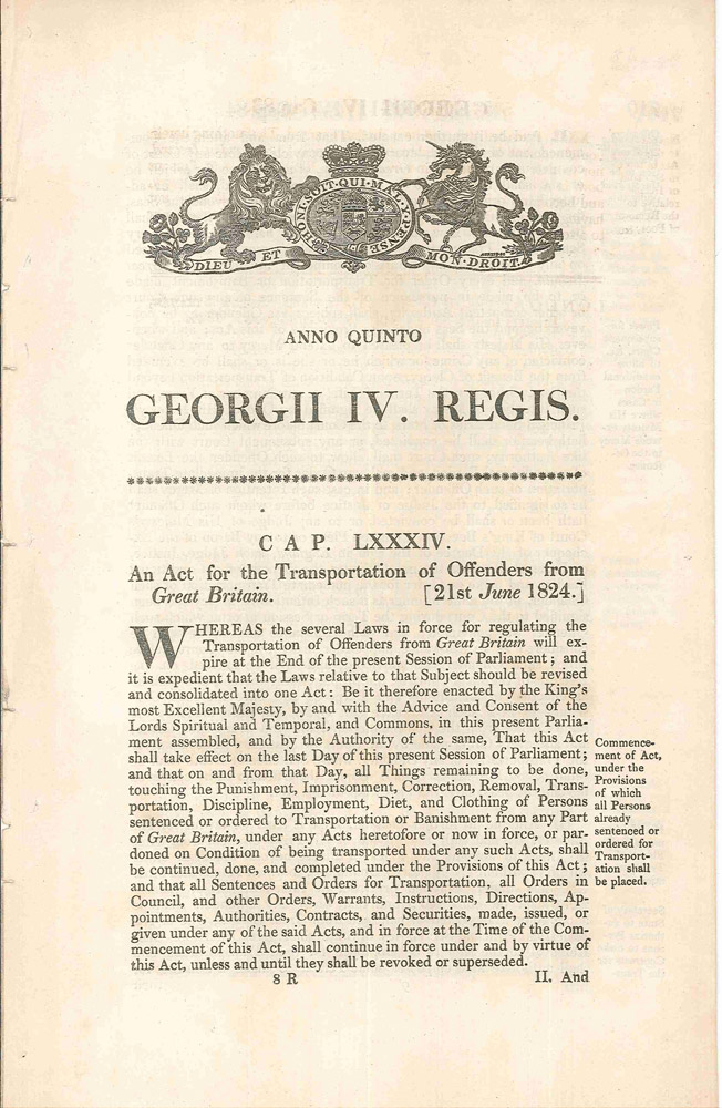 Cap LXXXIV. An Act for the Transportation of Offenders from Great Britain [21st June 1824]. PARLIAMENT OF GREAT BRITAIN.