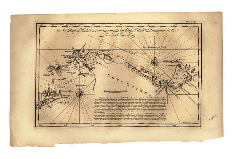 A Map of the Discoveries Made by Captn. Willm. Dampier in the Roebuck in 1699. DAMPIER, Emanuel BOWEN, engraver.