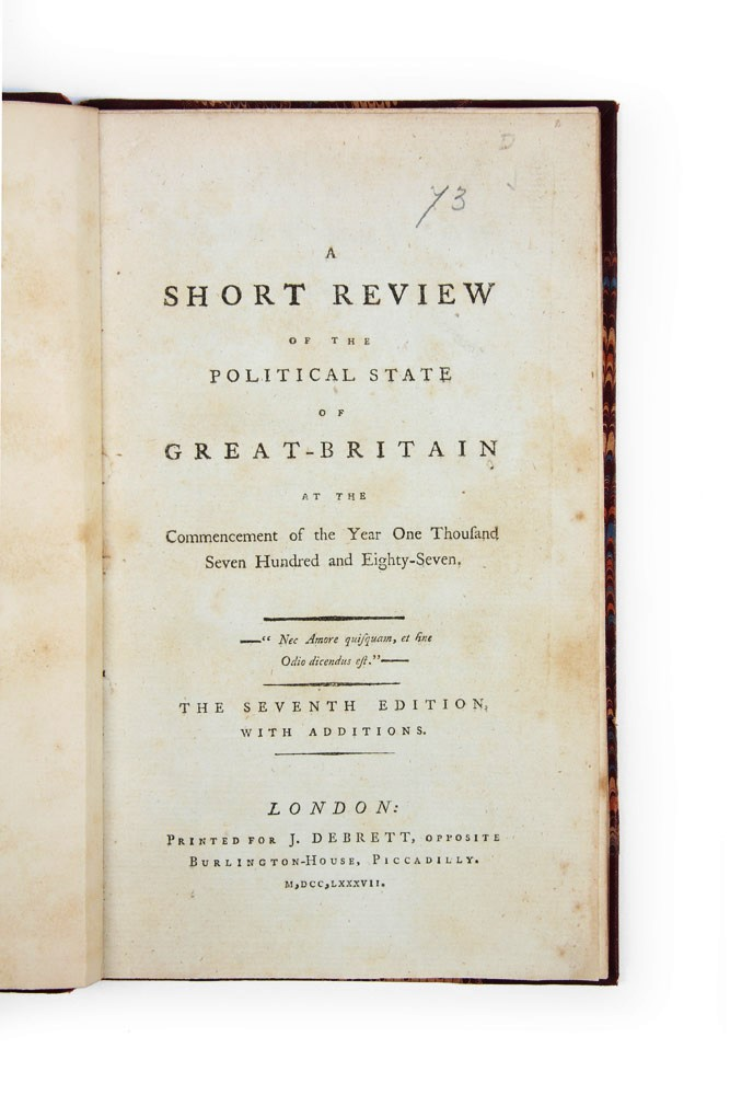 A Short Review of the Political State of Great-Britain…. Sir Nathaniel William WRAXALL.