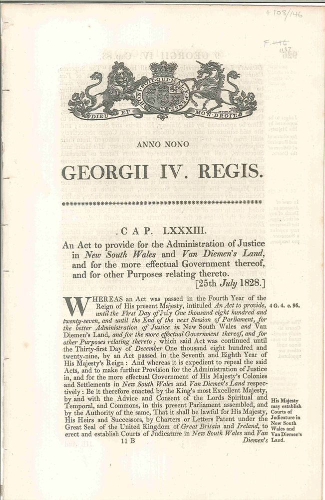 Cap. LXXXIII. An Act to Provide for the Administration of Justice in New South Wales and Van Diemen's Land…. PARLIAMENT OF GREAT BRITAIN.