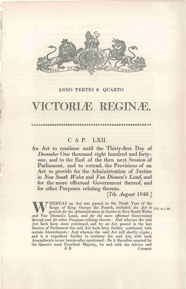 An Act…to provide for the Administration of Justice in New South Wales and Van Diemen's Land, and for the more effectual Government thereof, and for other Purposes relating thereto. (Cap. LXII). PARLIAMENT OF GREAT BRITAIN.