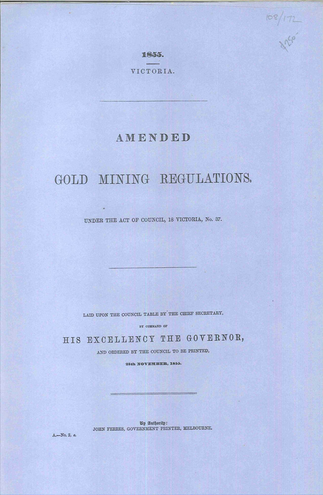 Amended Gold Mining Regulations  Under the Act of Council, 18 Victoria, No   37 by PARLIAMENT OF VICTORIA on Hordern House Rare Books