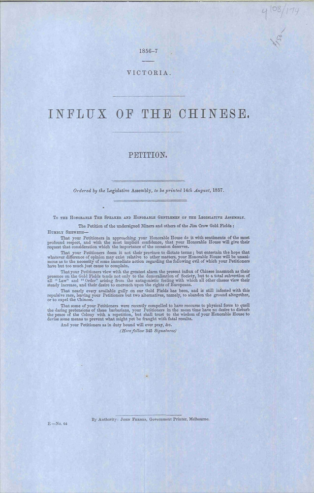 Influx of the Chinese. Petition. Legislative Assembly of Victoria.