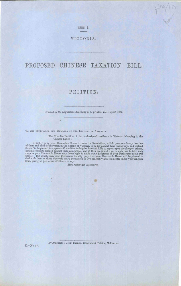 Proposed Chinese Taxation Bill. Legislative Assembly of Victoria.